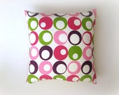 "Pink Pillow - Linen White Pillow Cover with Pink, Purple, Green Circles Print - 18x18"" - Gift for Her, for Mom - Ready to Ship Decor"