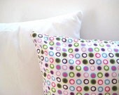 "Polka Dot Pillow Cover - Linen Cream with Purple, Green, Blue, Pink Circles Print - 18x18"" - Gift for Her - Ready to Ship Decor"