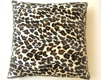 "Fall Home - Velvet Cream Pillow Cover with Brown and Black Leopard Skin Print - 18x18"" - Gift for Her, for Mom - Ready to Ship Decor"