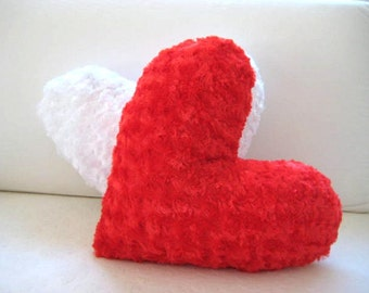 """Red Heart Pillow Cover - 17x15.5"""" - Gift for Her - Ready to Ship Decor - So Soft..."""