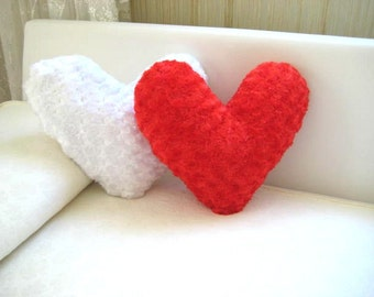 White and Red Heart Pillow Covers - Gift for Her - Ready to Ship Decor - So Soft...