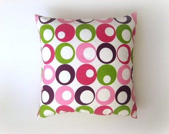 """Pink Pillow - Linen White Pillow Cover with Pink, Purple, Green Circles Print - 18x18"""" - Gift for Her, for Mom - Ready to Ship Decor"""