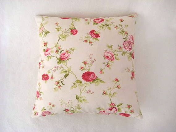 Shabby Chic Linen Pillows : Shabby Chic Home Linen Cream Pillow Covers with Green Red