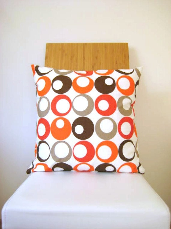 Orange Pillow Cover - White Fabric with Orange, Brown, Beige Circles Print - Gift for Her, for Mom - Ready to Ship Decor