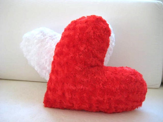 "Love Hearts - Red Heart Pillow - 17x15.5"" - Gift for Her - Ready to Ship Decor"