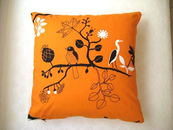 "Eco-Friendly - Cotton Orange Pillow Cover with Black and White Birds and Tree Print - 18x18"" - Gift for Her, for Mom"