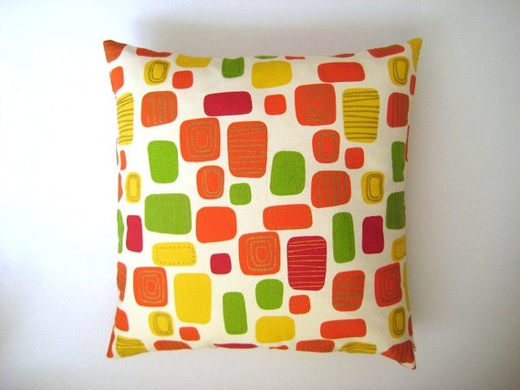 """Geometrical Print Pillow Cover - Cream Linen with Green Pink Orange and Yellow Geometric Print on it - 18x18"""" - Gift for Mom - Ready to Ship"""