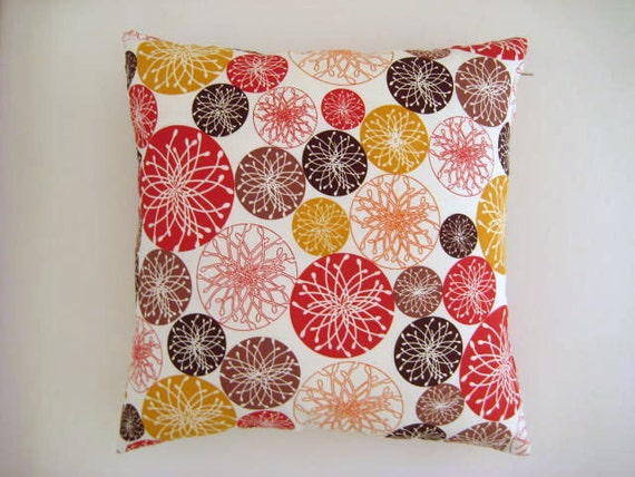 "Brown, Red and Mustard Yellow Pillow Cover - Cream Linen Fabric with Circles Print - 18x18"" - Ready Home Decor - Gift for Her, for Mom"