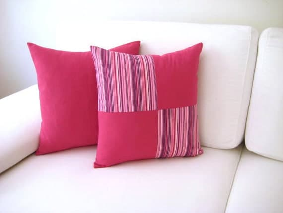 """Pink Patchwork Pillow Cover - Pink, Purple and White Linen Fabric - 18x18"""" - Gift for Her, for Mom - Ready to Ship Decor"""