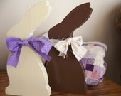Primitive Wooden White and Milk Chocolate Easter Bunny Shelf Sitters