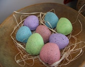 Set of 8 Primitive Spring Fabric Light Pastel Easter Eggs