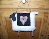 Primitive Stuffed Sheep Hanger