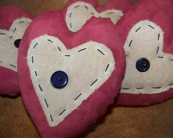 Set of 4 Primitive Red Valentine Button Heart Bowlfillers/Tucks