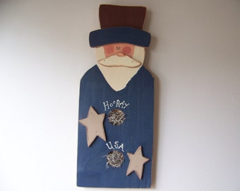 Primitive Americana Wooden Uncle Sam Patriotic Wall Hanging