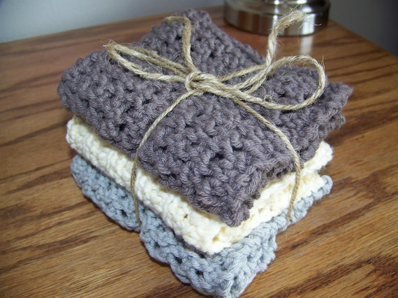 Set of 3 Hand-knit Dish Cloths