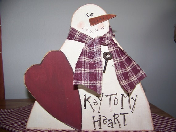 Key To My Heart Wooden Primitive Valentine Snowman