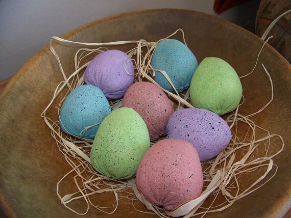 Set of 8 Primitive Spring Fabric Light Pastel Easter Eggs