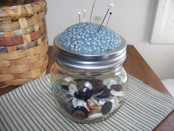 Primitive Pint-Sized Mason Jar Pincushion/Storage Jar with Blue Fabric