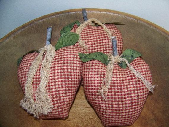 Set of 3 Prim Homespun Apple Bowl Filler Ornies
