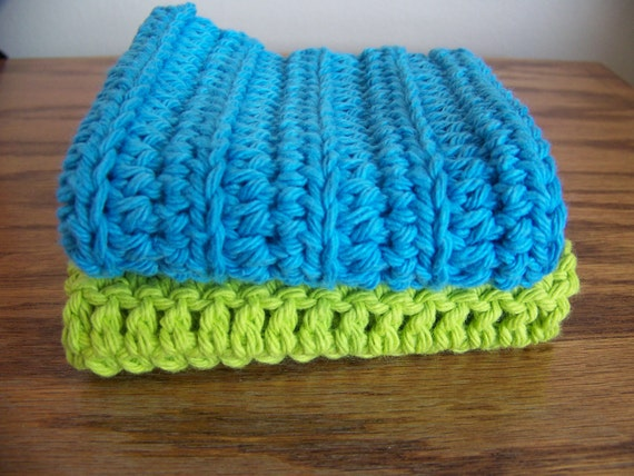 Set of 2 100 Percent Cotton Crocheted Dish Cloths in Vibrant Turquoise and Lime Green for Summer