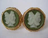 Cuff Links Cameo Roman Faces Green White Gold