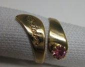 October Pink Rhinestone Ring Gold Adjustable