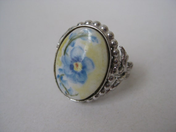 Sterling Silver Ring Flower Blue Size 7