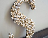 "Gold, White and Sparkly 12"" Letter S - Home Decor, Wedding"