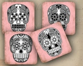 "Day of the Dead coasters decoration 4x4"" - Set of 4 SOFT coasters - Black sugar skulls on pink (9237)"