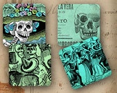 """Day of the Dead coasters Mexican decoration 4x4"""" - Set of 4 SOFT coasters - Vintage Posada calaveras images (9272)"""