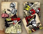 """Day of the Dead coasters Mexican holiday decor 4x4"""" - Set of 4 SOFT coasters - Vintage Posada calaveras images (9274)"""