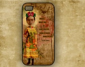 Frida Kahlo altered art Iphone 4 / 4s cover, cellphone case, designer Iphone case (9648)