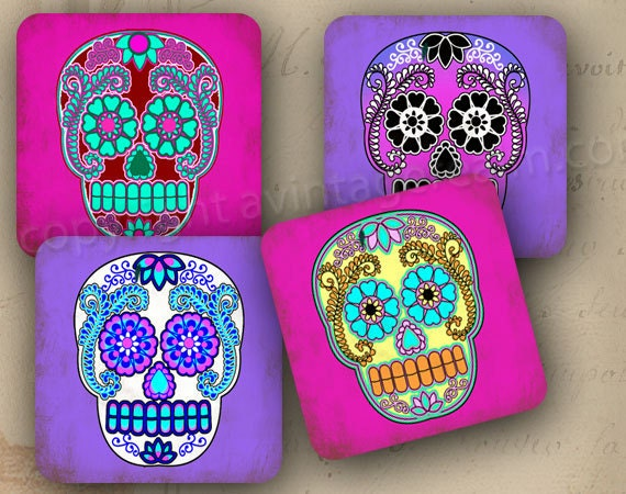 Day of the dead coasters decoration 4x4 set of 4 soft for Decoration 4x4