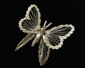 Vintage Monet Butterfly Brooch Silver Tone Spinneret Wired