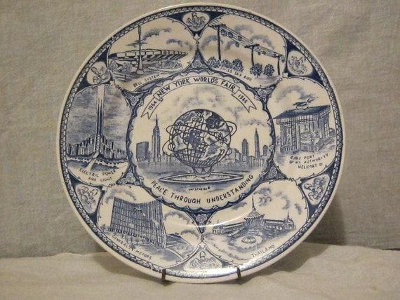 1964 New York Worlds Fair Unisphere Collectors Plate, Blue Transferware Porcelain