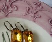 FREE SHIPPING Citrine Topaz Vintage Jewel Earrings - Vintage Octagon Earrings