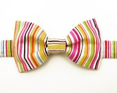 Boys Bow Tie White with Multi Colored Stripes