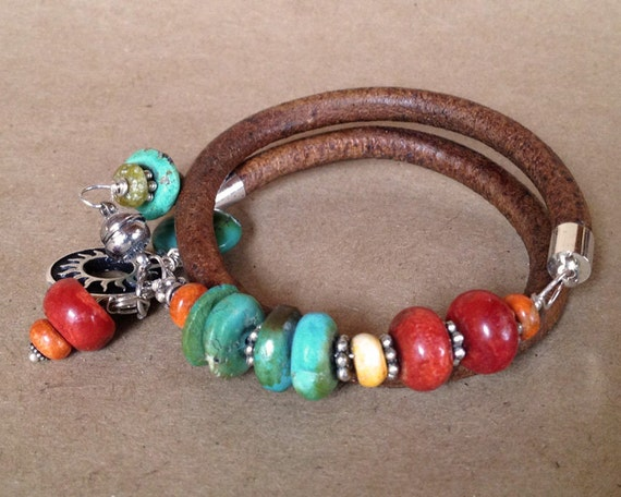 Leather Beaded Bracelet  -  turquoise, red, orange, coral, silver