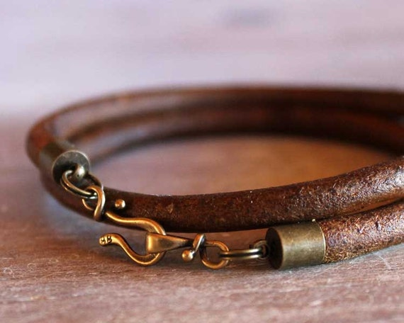 Brass Leather Bracelet Double Wrap