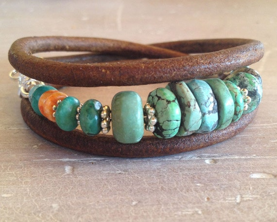 Turquoise Leather Bracelet - Triple wrap turquoise, spiny oyster and silver
