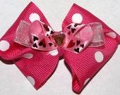 hot pink polkadot and heart bow