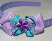 Lavender and teal child's headband with bow