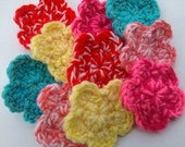 dual color crochet flowers- set of 10