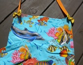 Ocean themed tote bag with mini keys pouch