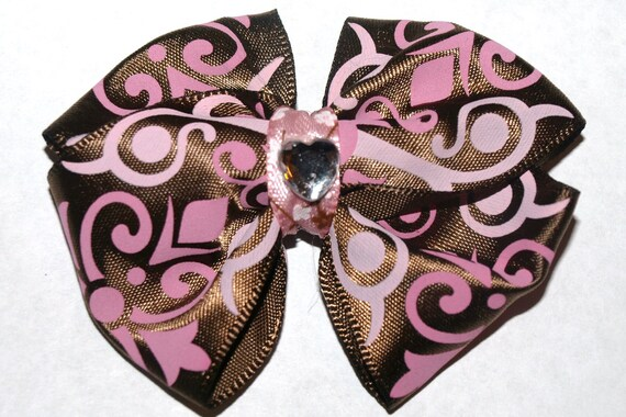 Brown and pink hair bow