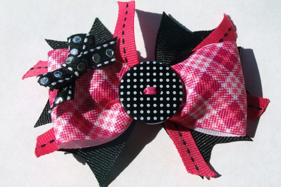 hot pink and black button hair bow