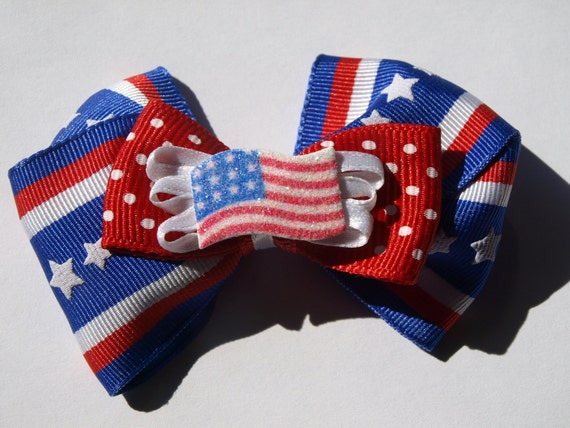 red white and blue American flag hair bow