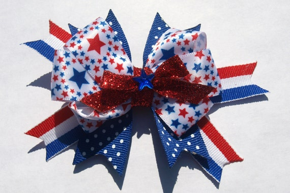 Red white and blue- patriotic bow- stars and stripes summer bow