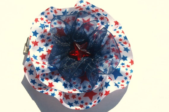 Red white and blue- patriotic star bow- circle bow