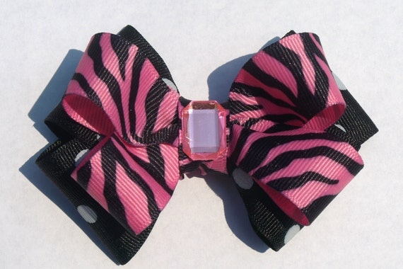 pink and black zebra and polka dot hair bow- summer accessories- girls hair clips